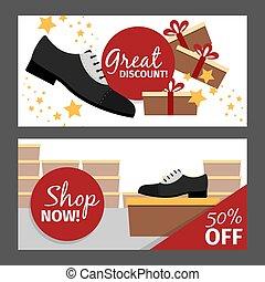 Men autumn shoes horizontal flyers