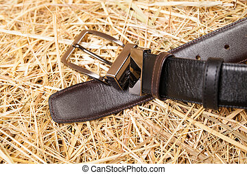 Men belt black closeup - Men's belt black close-up on a...