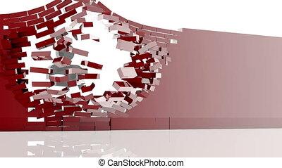 men break the wall throw briks away