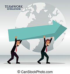 men business carrying arrow team work