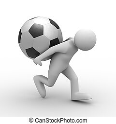 men carry ball on back. Isolated 3D image