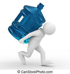 men carry bottle on back. Isolated 3D image