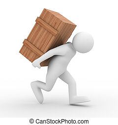 men carry box on back. Isolated 3D image