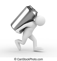 men carry can on back. Isolated 3D image