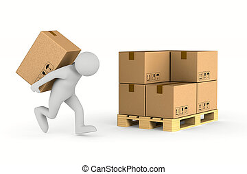 men carry cargo box on back. Isolated 3D illustration