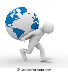 men carry globe on back. Isolated 3D image