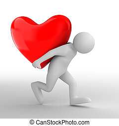 men carry heart on back. Isolated 3D image