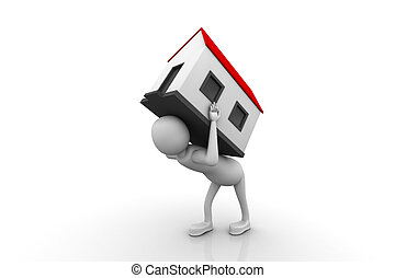 men carry house on back. Isolated 3D image