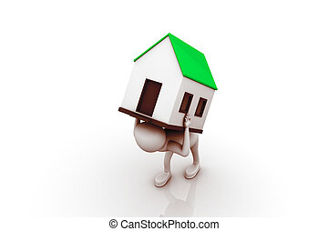 men carry house on back. Isolated
