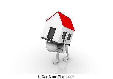 men carry house on back