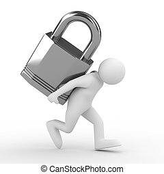 men carry lock on back. Isolated 3D image