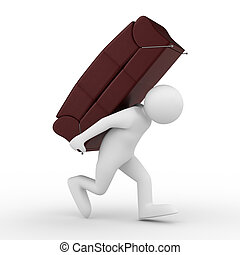 men carry sofa on back. Isolated 3D image