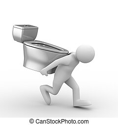men carry toilet bowl on back. Isolated 3D image