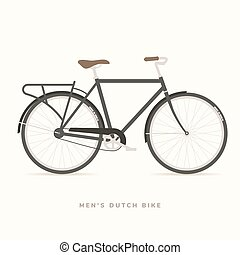 Men Classic Dutch Bike, vector illustration