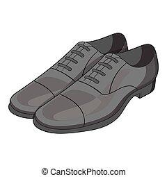 Men classic shoes icon, gray monochrome style