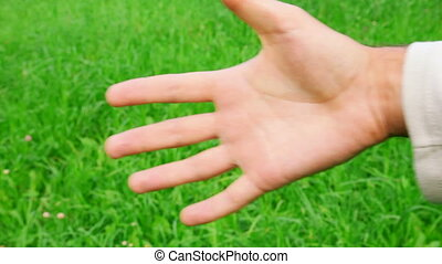 men clench one\'s fist on green grass background