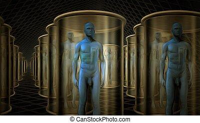 Men Clones - Surreal painting. Clones.