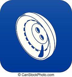 Men clothes button icon blue vector
