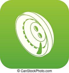 Men clothes button icon green vector
