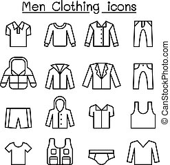 Men clothes icon set in thin line style