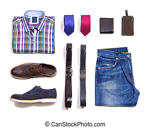 Men clothes on white background