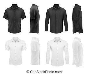 Men clothes vector tshirts, shirts apparel mockup