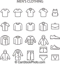 Men clothing line icons - set of garments type signs, outerwear collection
