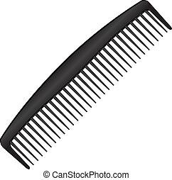 Men's black comb with a few teeth. Vector illustration.