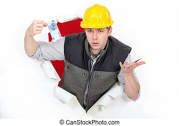 Men coming out of hole paper ticket in hand