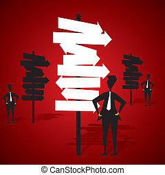multi-directional board confuse men for right path stock vector