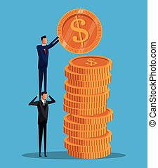 men cooperation business pile coins