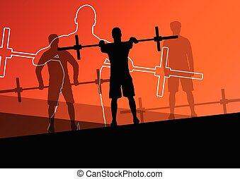 Men crossfit weight lifting sport silhouettes abstract...