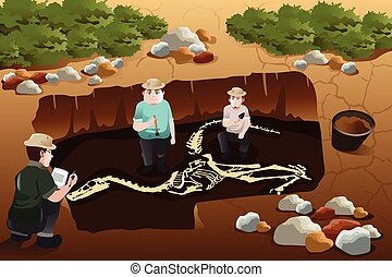 Men discovering a dinosaurs fossil - A vector illustration...