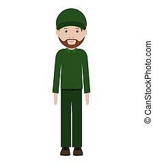 men dispatcher with green uniform and hat