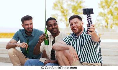 men drinking beer and taking selfie by smartphone - leisure,...