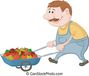 Men gardener driven truck with fresh tomatoes and peppers. Vector illustration