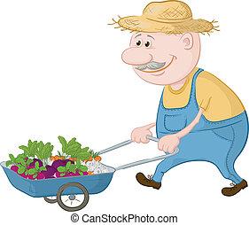 Men gardener driven truck with fresh vegetables. Vector illustration