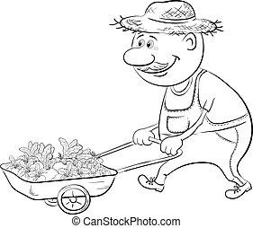 Men driven truck with vegetables, outline - Men gardener...