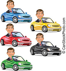 Men Driving Convertible