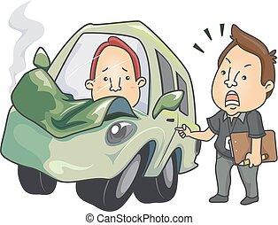 Men Driving Lesson Crashed Car Illustration