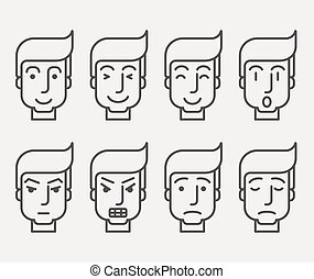 Men face with different expression in front view.