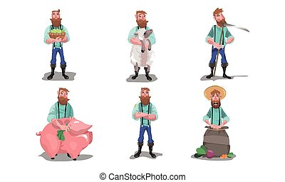 Men farmers with farm animals, produce and tools vector illustration