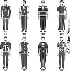 Men Fashion Black White Evolution Icons Set