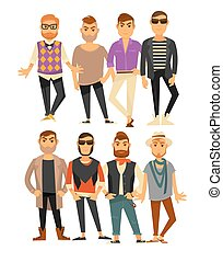 Men fashion models in different casual clothes vector flat...