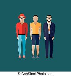 men fashion style. illustration in flat style