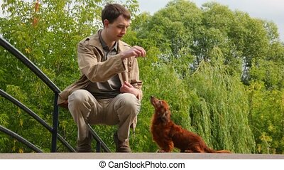men feeding dog in park