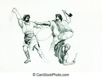 Men fighting - Original pencil or drawing charcoal, and hand...