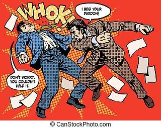 Men fighting street crime emotions anger hate retro style ...