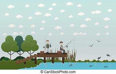 Men fishing on pier vector flat illustration