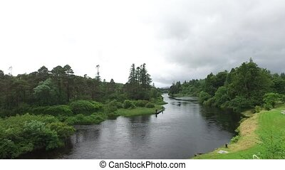 men fishing on river bank in ireland valley 2 - nature,...